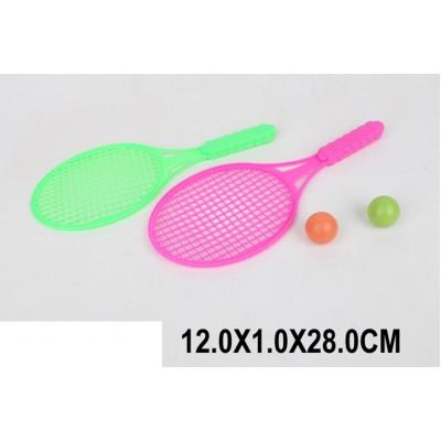 C022  Теннис детский C022 (1697685) (720шт/4) пласт,2 ракетки,2 шарика,в пакете 28 см