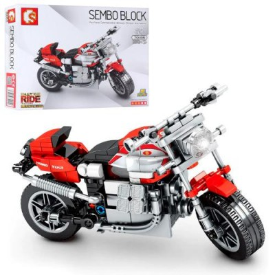 Конструктор 701135 Sembo Block Мотоцикл красный, 238 деталь