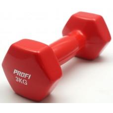 Гантель 3 кг Profi с виниловым покрытием (Красная 1шт
