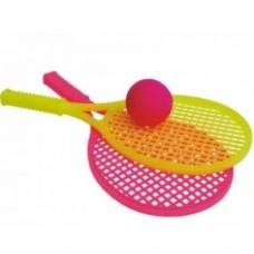 Теннисная ракетка с мягким мячиком, в сетке, 2525