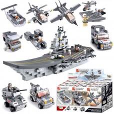 Конструктор-трансформер Sluban M38-B0537 Авианосец 9в1, 600 дет